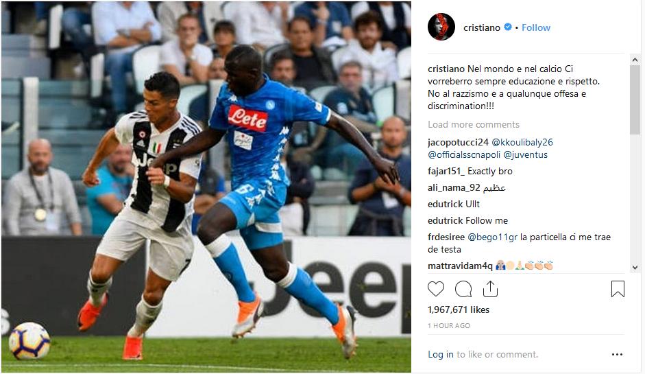 حمایت رونالدو از یک بازیکن در مقابل نژاد پرستی