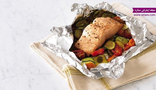 دستور پخت فیله ماهی سالمون و سبزیجات در فر