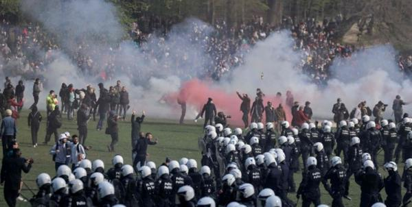 برخورد خشن پلیس بلژیک با تظاهرات ضد محدودیت های کرونایی